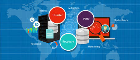 disaster preparedness: drp disaster recovery plan crisis strategy backup redundancy management vector