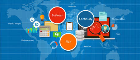 business words: business continuity plan management strategy assesment vector