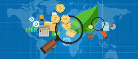投資成長お金拡大鏡ツリー リーフ対応ベクトル