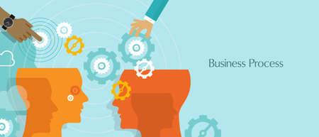 flujo: procesos de negocio engranajes vector de flujo de trabajo de gestión