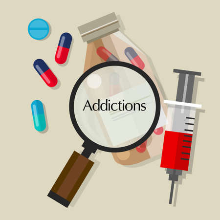 addictions drug addicts pills overdose vector illustration icon vector