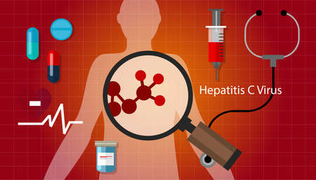 cure prevention: hcv hepatitis c virus liver disease vector Illustration