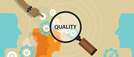 quality service: quality control management total solution production manufactoring vector Illustration