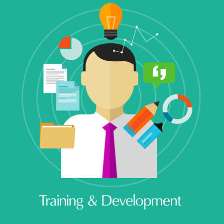 employee development: training and development business education train skill improvement vector
