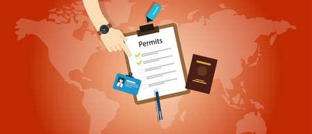 permits: work travel permits passport application immigration vector