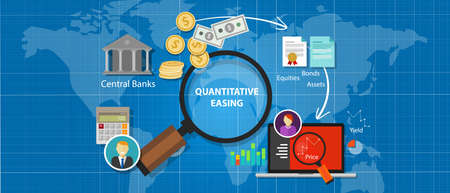 quantitative: quantitative easing financial concept monetary stimulus money economic vector