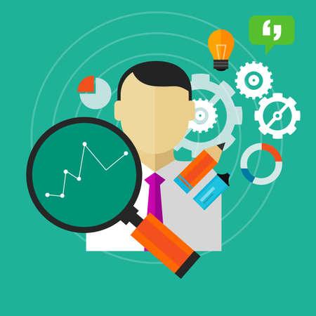 Mejora del rendimiento a mejorar KPI negocio persona medida empleado vectorial Foto de archivo - 44624067