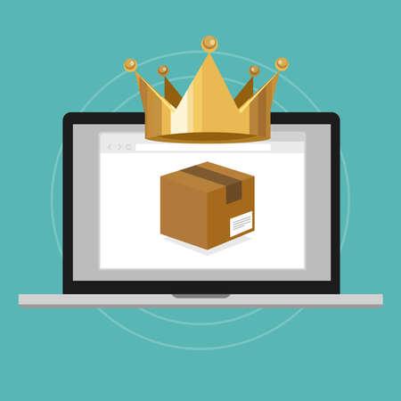 logo marketing: product is king design focus concept vector illustration
