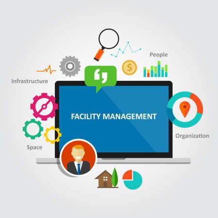administracion de empresas: instalaciones de gestión de instalaciones de mantenimiento del edificio de oficinas de servicios de vectores Vectores