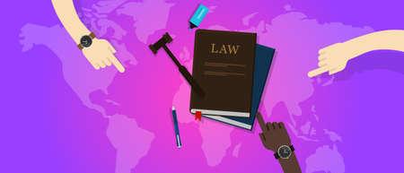 internationaal recht juridische rechtvaardigheid globale wereld hamer rechter vector