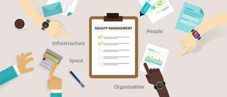 management concept: facility management facilities building maintenance service office vector