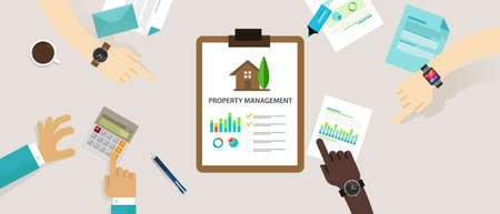 property management: property management concept business house investment vector