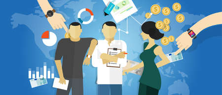 Strategia spotkania konsultant biznesowy koncepcja pracy konsulting konsultacji wektor