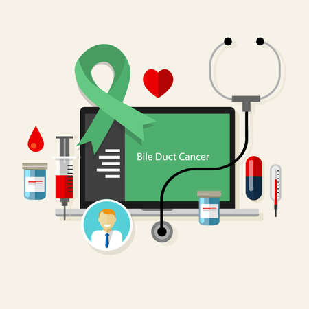 bile duct: bile duct cancer  medical green teal ribbon treatment health disease  vector