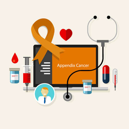 testicular cancer: appendix cancer appendicitis medical orange ribbon treatment health disease  vector