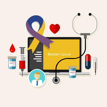 white people: bladder cancer medical blue ribbon treatment health disease  vector
