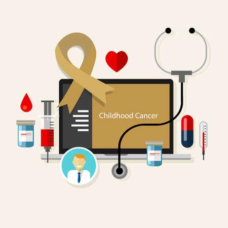 childhood cancer: childhood cancer children medical gold ribbon treatment health disease  vector