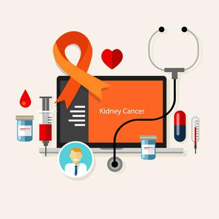 uretra: cáncer de riñón naranja médica vectores de enfermedades de salud el tratamiento de la cinta