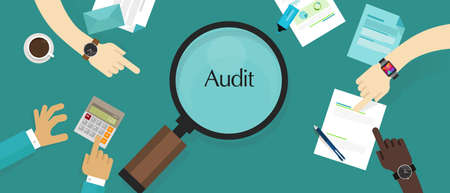 Accountant: audit financial company tax investigation process business accounting vector Illustration