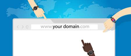 domain name web business internet concept url vector Stock Illustratie