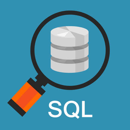 database icon: sql structured query language database search data code vector