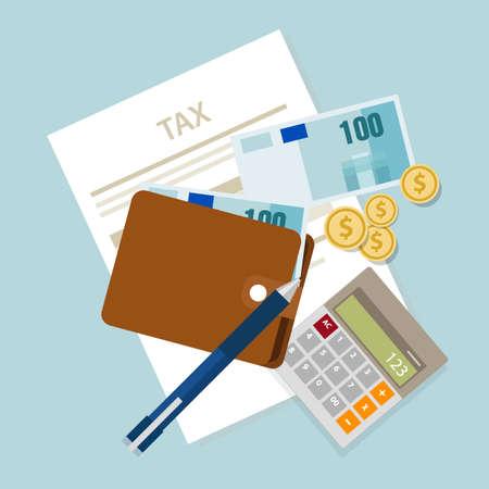 retour: belasting belastingen betalen belasting geld pictogram inkomen munt berekenen vector Stock Illustratie