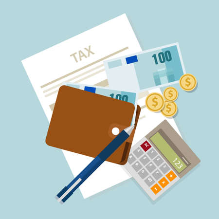 tax office: pay tax taxes money icon income taxation currency calculating vector