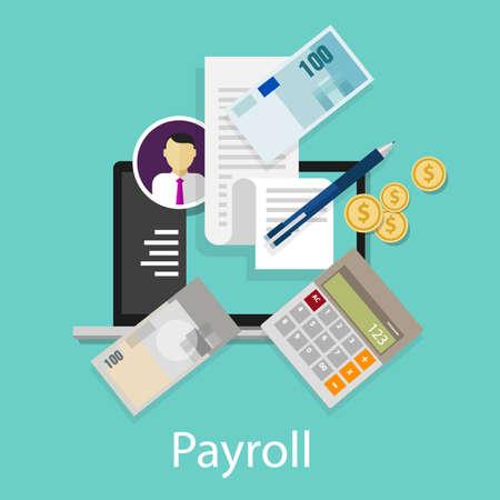 registros contables: Cálculo de la nómina de sueldos salarios pago calculadora dinero símbolo del icono del vector