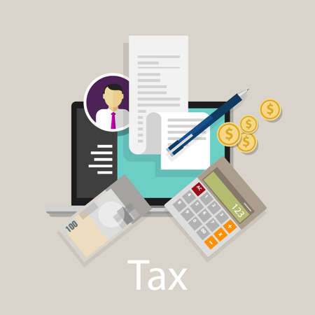 tax return: pay tax taxes money icon income taxation currency calculating vector