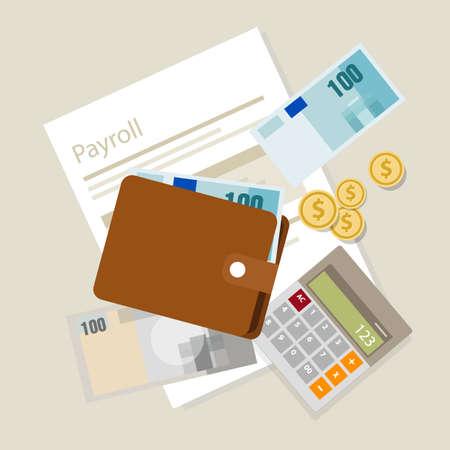 contabilidad financiera cuentas: C�lculo de la n�mina de sueldos salarios pago calculadora dinero s�mbolo del icono del vector