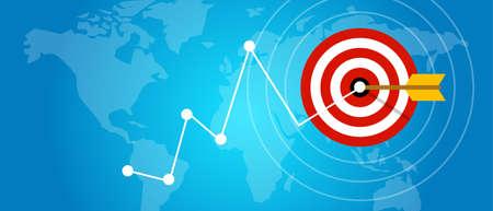 achieving: achieving target strategy improvement concept growth market arrow goals vector