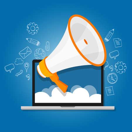 alerta: meg�fono anunciar grito de altavoces en l�nea de relaciones p�blicas de marketing digital vectorial