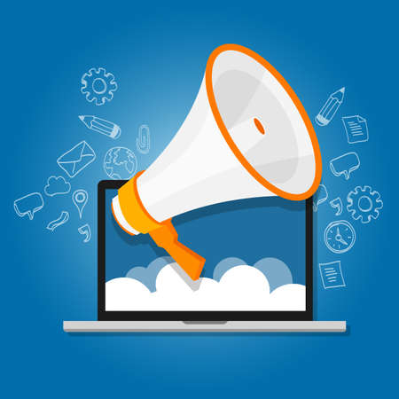 press release: megaphone announce speaker shout online public relation marketing digital vector Illustration