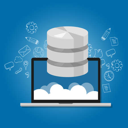 database concept: database data in the cloud network multimedia storage symbol icon laptop vector