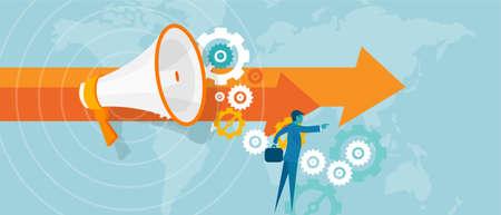성공 사업가 리드 벡터 비즈니스 개념 팀 작업 비전 비전의 지도자 리더십 일러스트