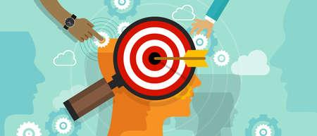 Strategia pozycjonowania w umysł konsumenta klient koncepcja rynku obrotu położenia głowy ludzki umysł szachy wektor Ilustracje wektorowe