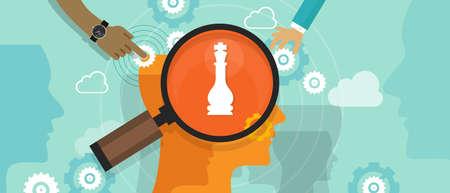 mente humana: posicionamiento en la posición concepto de estrategia de mercado de consumo del cliente mente comercialización cabeza humana mente ajedrez vector