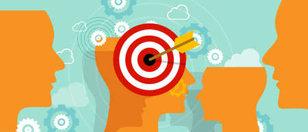 target market: targeting customer head mind niche target market marketing concept business vector