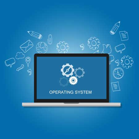 os besturingssysteem computer laptop scherm tandwielpictogram begrip vector