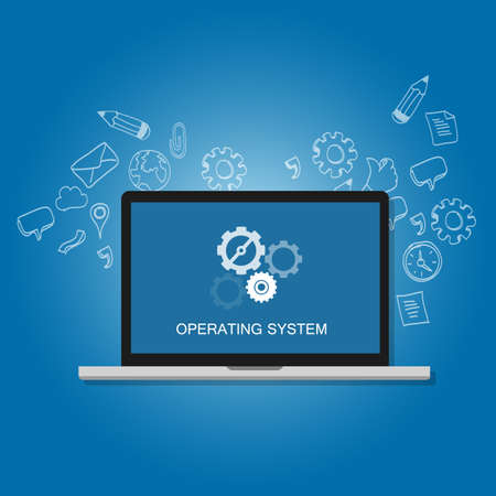 install: os operating system software computer laptop screen gear icon concept vector
