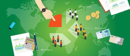 discriminacion: gente del mercado de clientes segmentaci�n segmento concepto de marketing de negocios apuntan vectorial