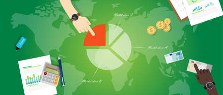 market share: market share product pie chart business graph profit economy vector Illustration