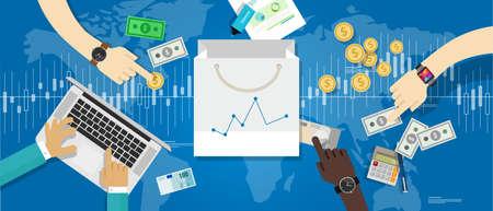 Consommation indice des prix à la croissance du marché de la confiance cpi statistiques augmentation des dépenses d'achats d'affaires cci vecteur Banque d'images - 46571154