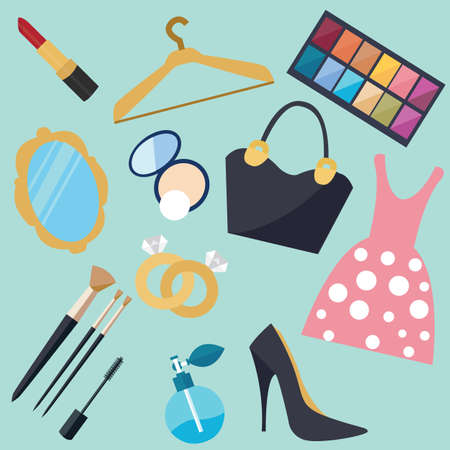 woman girl: girl stuff woman things fashion vector object icon set vector