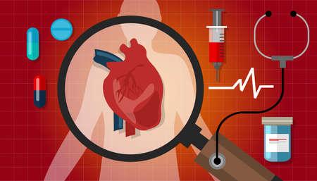 hartziekten aanval menselijke gezondheid cardiologie cardiovasculair pictogram vector