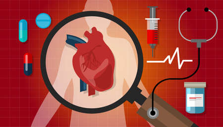 heart health: heart disease attack human health cardiology cardiovascular icon vector