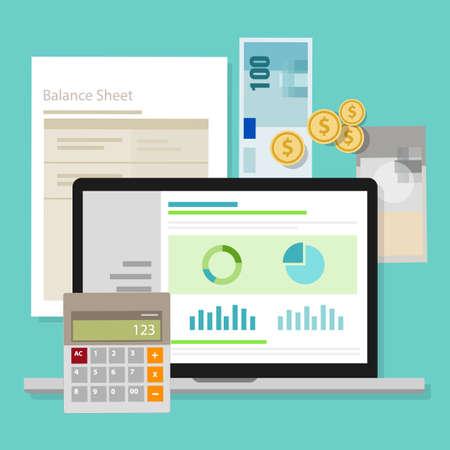 Buchhaltungssoftware Bilanz Geldtaschenrechner-Anwendung Laptop-Vektor