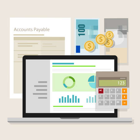 accounts payable: account payable accounting software money calculator application laptop vector