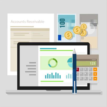 Explicar las cuentas de ordenador portátil de software de aplicación calculadora de dinero que representan a cobrar Foto de archivo - 46577609