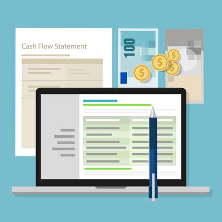 cash flow statement: cash flow statement accounting software money calculator application laptop vector